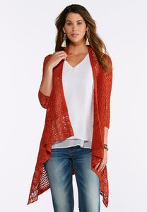 Plus Size Solid Pointelle Cardigan Sweater