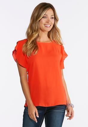 Cutout Flutter Sleeve Top at Cato in Brooklyn, NY   Tuggl