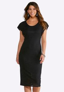 Textured Burnout Sheath Dress