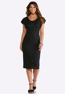 Plus Size Textured Burnout Sheath Dress