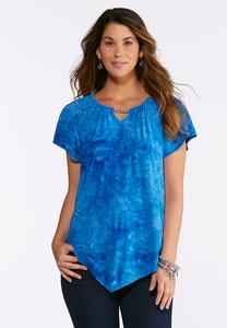 Plus Size Blue Embellished Puff Print Top