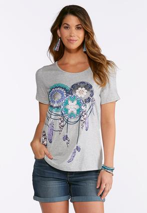 Plus Size Dream Catcher Cold Shoulder Tee