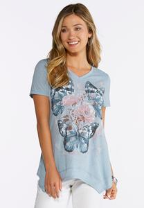 Plus Size Embellished Butterfly Tee