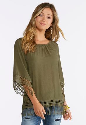 Plus Size Crochet Fringe Trim Top | Tuggl