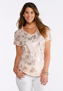 Plus Size Foil Printed Floral Tee