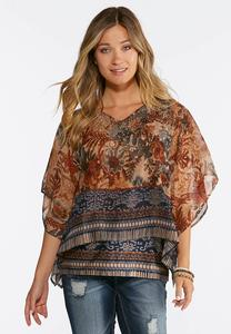 Plus Size Earth Floral Capelet