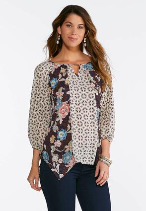 Plus Size Embellished Mixed Print Top