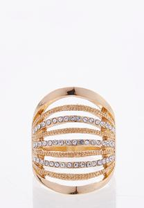 Multi Row Rhinestone Ring