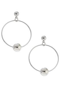 Silver Ball Hoops