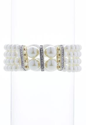 Rhinestone And Pearl Stretch Bracelet