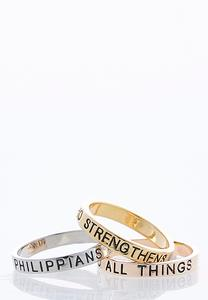 Tri-Toned Inspirational Ring Set