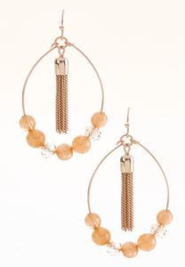Beaded Dangling Tassel Earrings