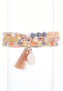 Bead And Tassel Stretch Bracelet Set