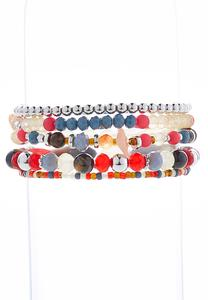 Red Multi Stretch Bracelet Set