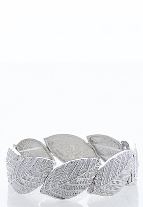 Etched Leaf Metal Stretch Bracelet | Tuggl