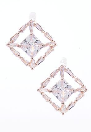 Sparkling Rose Gold Earrings | Tuggl