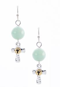 Dangle Beaded Cross Earrings