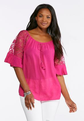 Lace Ruffle Sleeve Poet Top