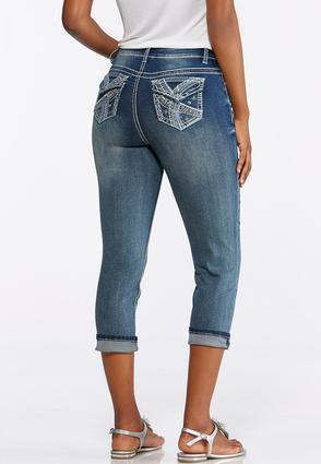 Cropped Blue Stitch Embellished Jeans | Tuggl
