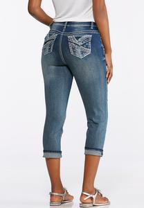 Cropped Blue Stitch Embellished Jeans