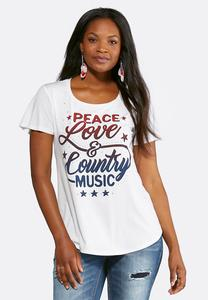 Plus Size Peace Love Music Tee