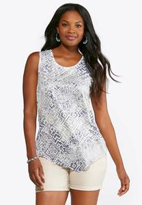 Plus Size Embellished Pointelle Hem Tank
