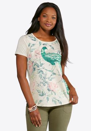 Plus Size Embellished Peacock Tee