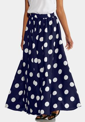 Plus Size Polka Dot Swing Maxi Skirt