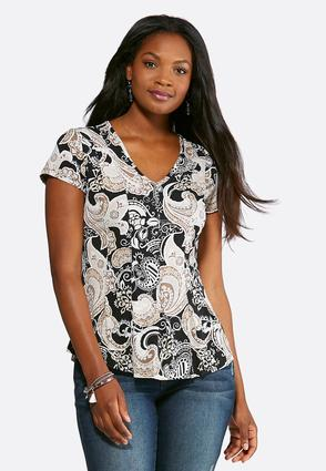 Plus Size Seamed Puff Paisley Top