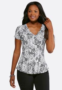 Plus Size Seamed Puff Lace Peplum Top