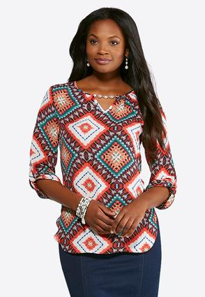 Plus Size Pearl Keyhole Neck Top | Tuggl