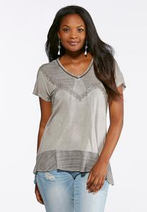 Relaxed Lace Trim Tee