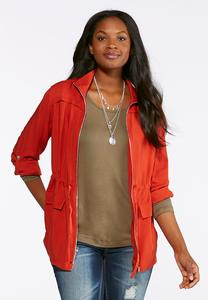 Plus Size Twill Drawstring Jacket