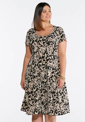 Plus Size Seamed Neutral Paisley Puff Print Dress