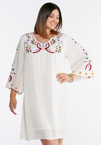 Plus Size Embroidered Gauze Swing Dress