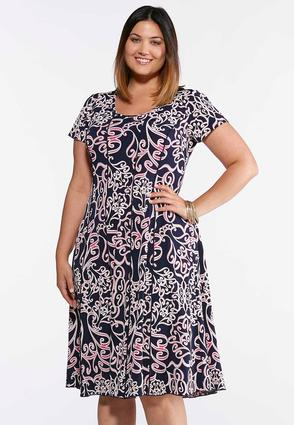 Plus Size Navy Fuchsia Puff Print Dress | Tuggl