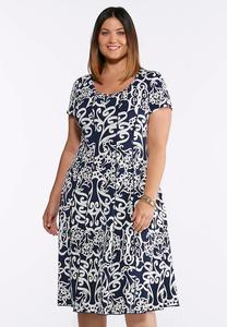 Plus Size Swirl Puff Print Dress