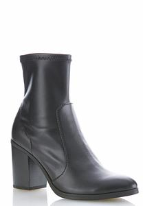 Faux Leather Stretch Ankle Boots