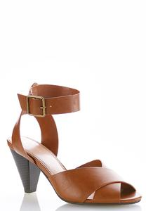 Cross Band Cone Heel Sandals
