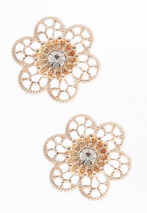 Rhinestone Flower Button Earrings | Tuggl