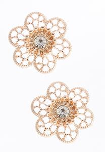 Rhinestone Flower Button Earrings