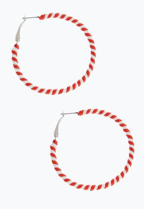Colored Thread Hoop Earrings