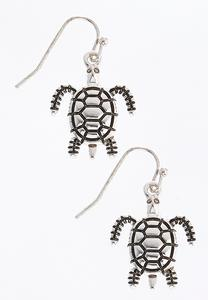 Antique Silver Turtle Earrings