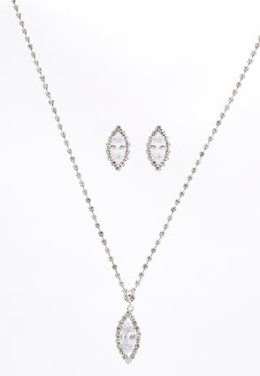 Marquise Rhinestone Necklace Set