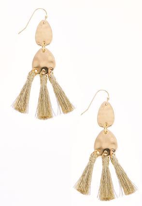 Triple Gold Tassel Earrings | Tuggl