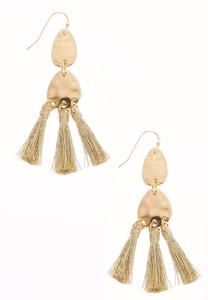 Triple Gold Tassel Earrings