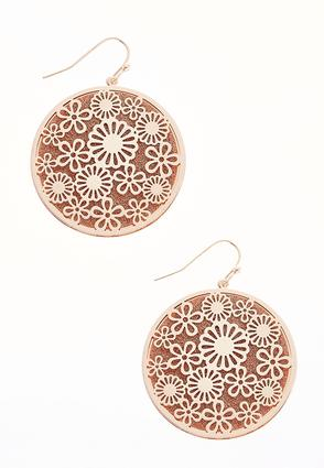 Laser Cut Floral Disk Earrings | Tuggl