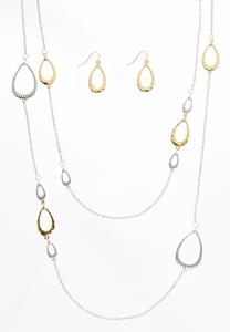 Layered Two-Tone Necklace Set