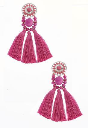 Sunburst Bead Tassel Earrings | Tuggl