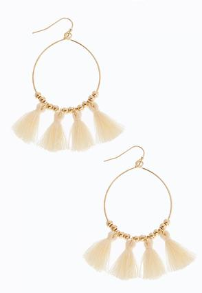 Beaded Tassel Hoops